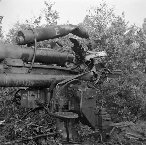 German 88 mm gun FlaK 36 in a wood near the Dutch town of Aalst