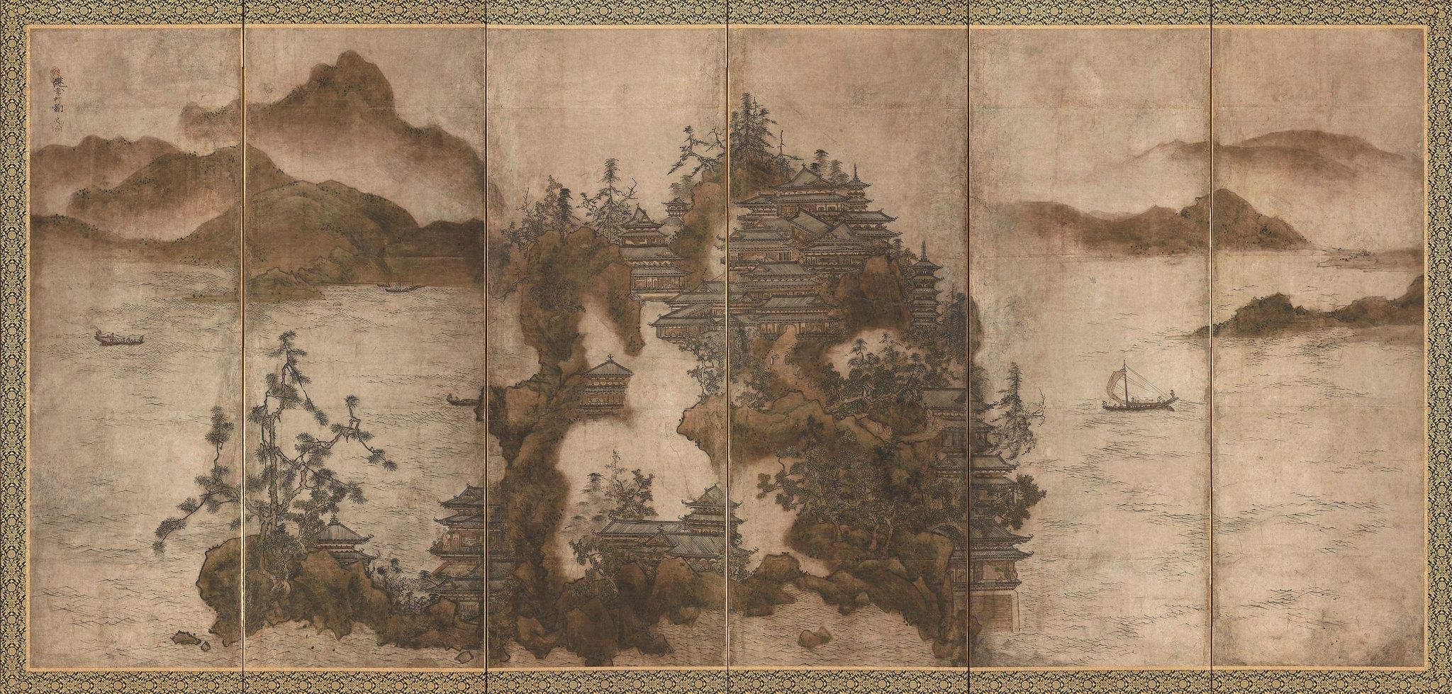 《金山寺図屏風》(室町時代、茨城・笠間稲荷美術館、~8月20日)