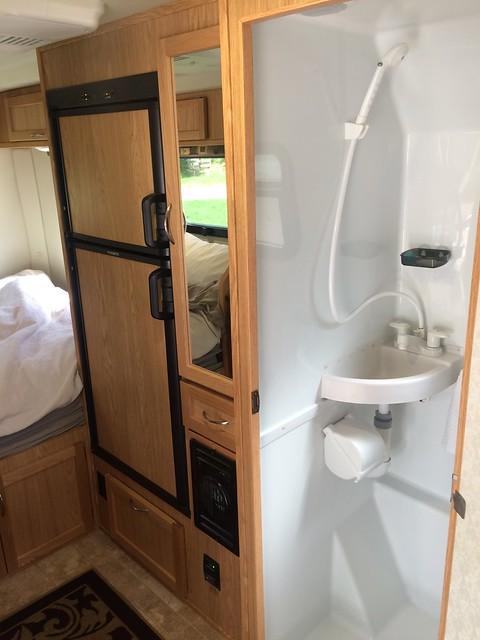 Escape Trailer Bathroom and fridge