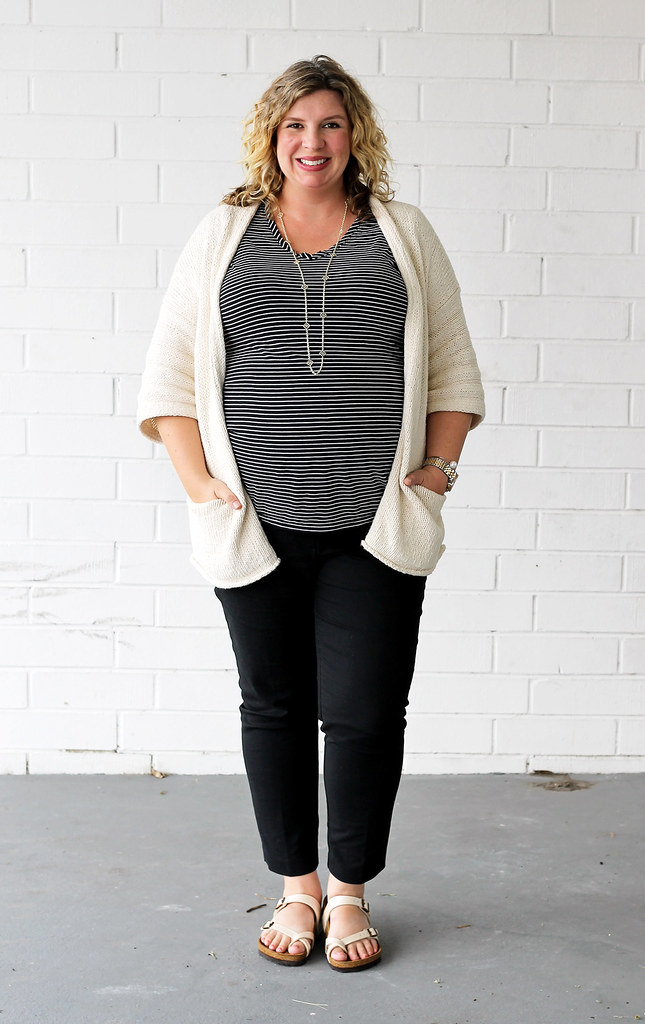 maternity black pants, black and white stripe tee, kimono cardigan, birkenstocks 2