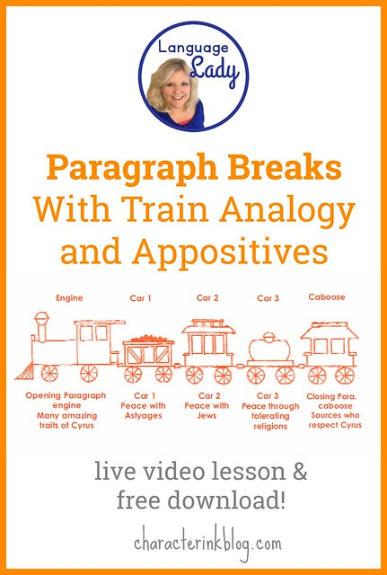 Paragraph Breaks With Train Analogy and Appositives (Live Video Lesson and Free Download!)