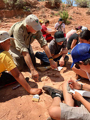 BLM Regional Paleontologist Dr. Brent Breithaupt showed campers how to document the Mail Station track site near Moab