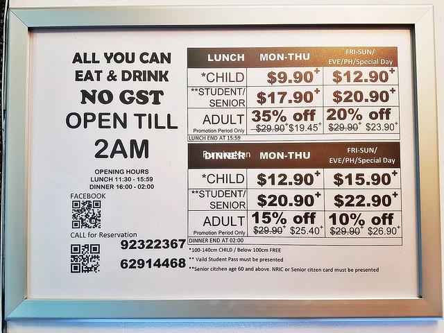Korean Fusion BBQ Price List