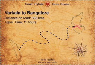 Map from Varkala to Bangalore