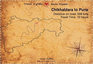 Map from Chikhaldara to Pune