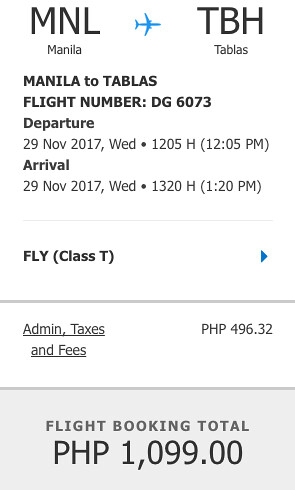 Manila to Tablas November 29, 2017 Promo