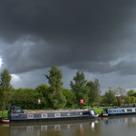 Grim clouds over the canal at Cottam Preston