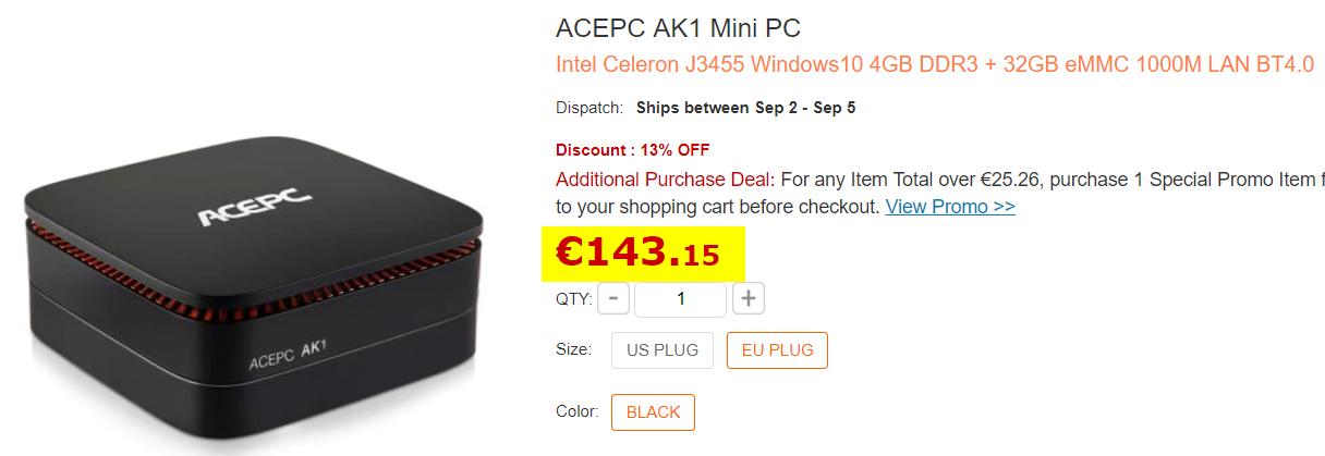 AcePC AK1 : Un MiniPC sous Celeron J3455 avec un slot 2 5 pouces