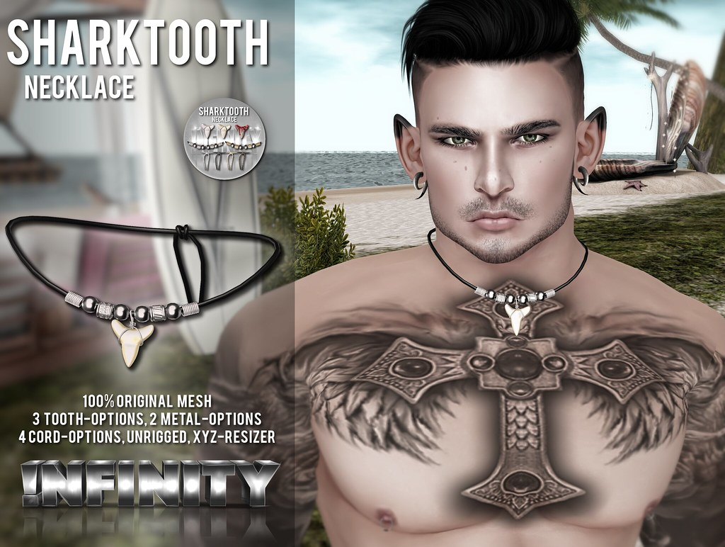 !NFINITY Sharktooth Necklace @ Men Only Monthly - SecondLifeHub.com