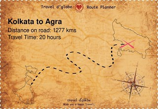 Map from Kolkata to Agra