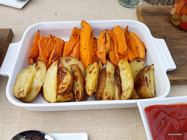Sweet potato and yukon gold potato wedges