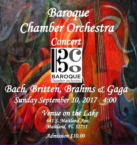 """""""Bach, Britten, Brahms & Gaga"""" from Maitland's Baroque Chamber Orchestra"""