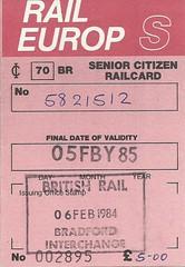Rail Europ Senior Citizen Railcard issued at Bradford Interchange, 1984