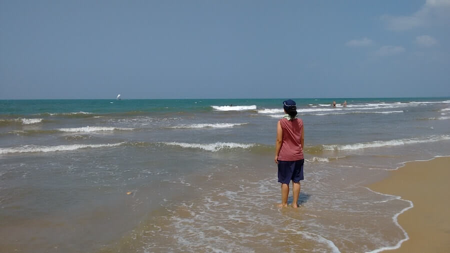Me at Negombo Beach in Sri Lanka