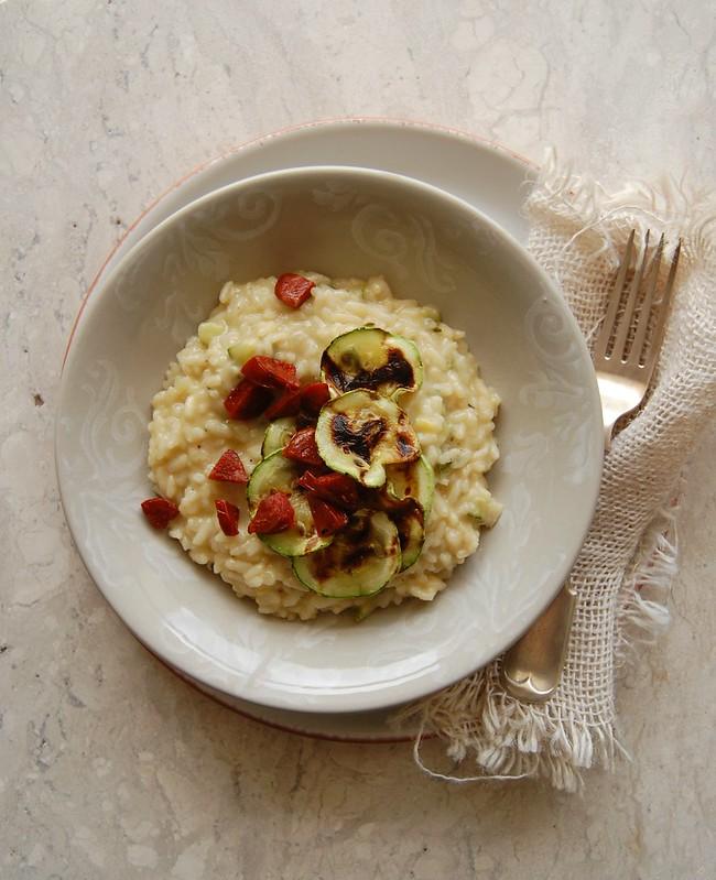 Zucchini and chorizo risotto / Risoto de abobrinha e chorizo