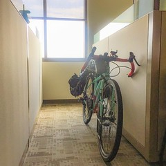I love that I have bike parking right next to my desk. ❤️❤️❤️#whoneedsgas #cyclinglife #bikeparking #bestjobever