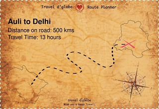 Map from Auli to Delhi