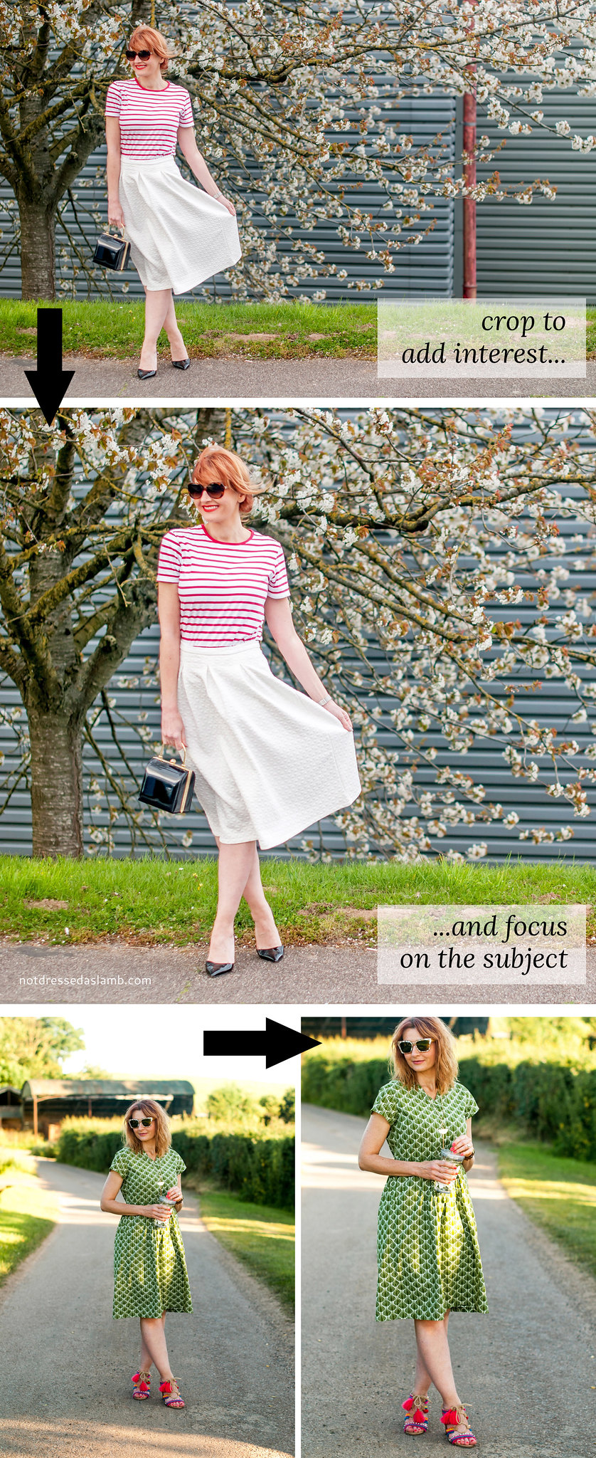 6 Easy Ways to Improve Your Blog Outfit Photos, Part 2: Editing Tips - Crop to add interest | Not Dressed As Lamb
