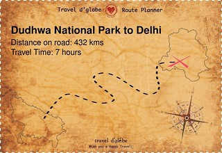 Map from Dudhwa National Park to Delhi