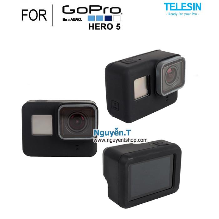 Vỏ Silicon cao su Telesin chống sốc GoPro 5 | BLACK
