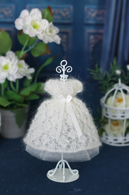 Fluffy hand-knitted dress
