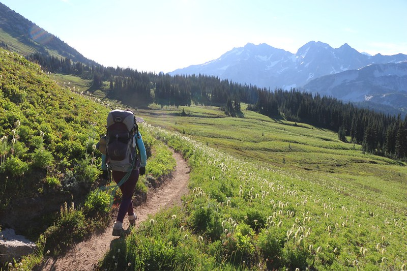 Hiking down from Cloudy Pass through the upper flower-filled meadows as we head toward Lyman Lake