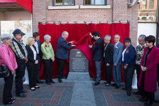 Premier John Horgan, along with members of the Chinese community, unveiled a monument in Victoria's historic Chinatown yesterday to recognize the contributions of Chinese Canadians.