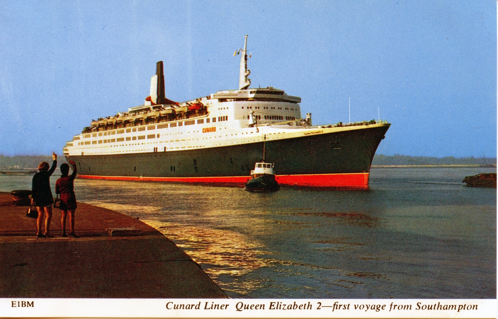 Postcard depicting QE2's first departure from Southampton, 1969