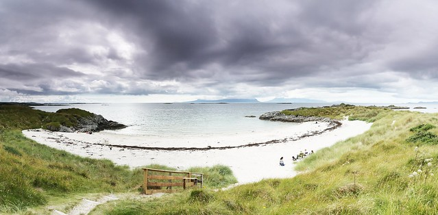 Looking over a beach to Eigg and Rum