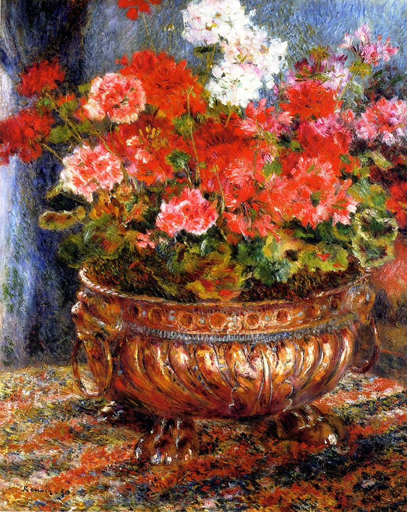 Geraniums in a Copper Basin by Pierre Auguste Renoir, 1880