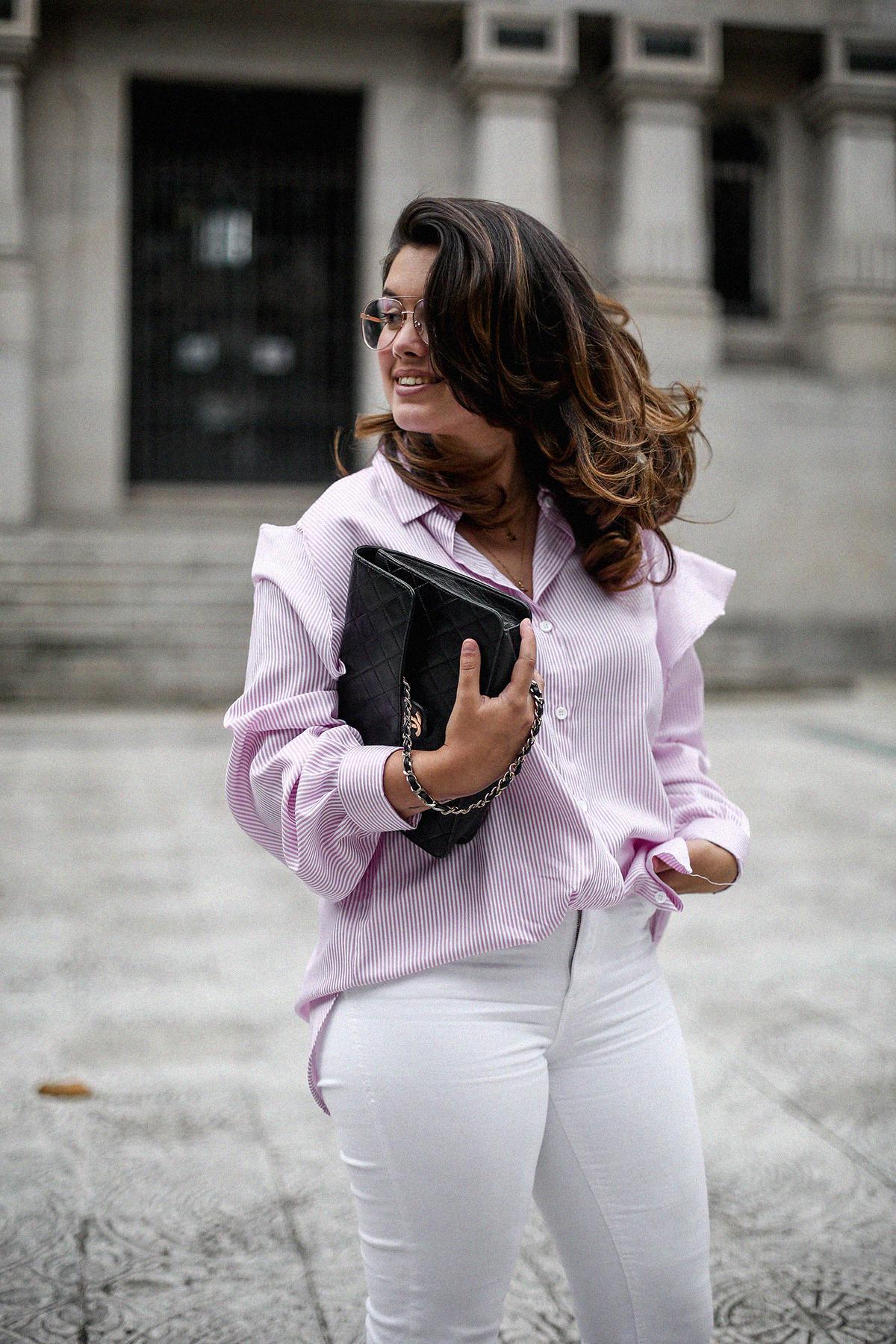 camisa rayas rosa dias como estos bailarinas lazo negras hm myblueberrynightsblog5
