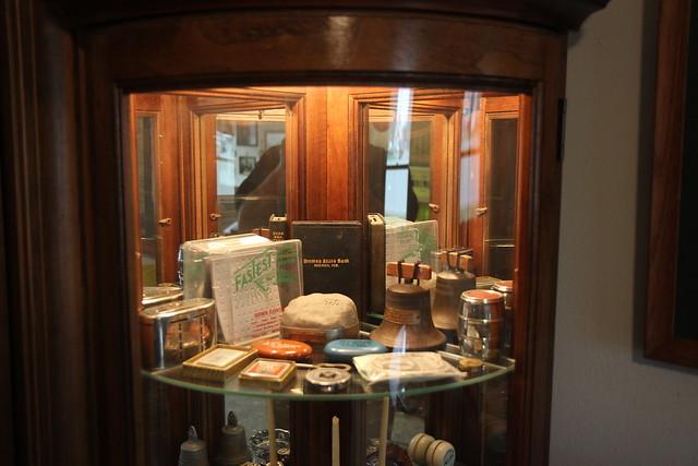 Memorabilia in curio cabinet