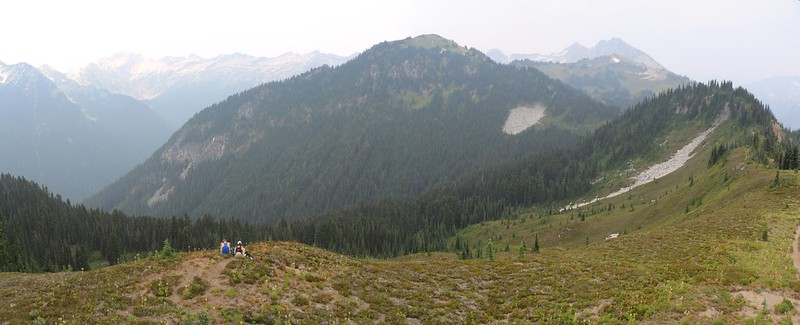 View east from the Miners Ridge Lookout Tower, with Peaks 6758, 6922, and Plummer Mountain, distant right
