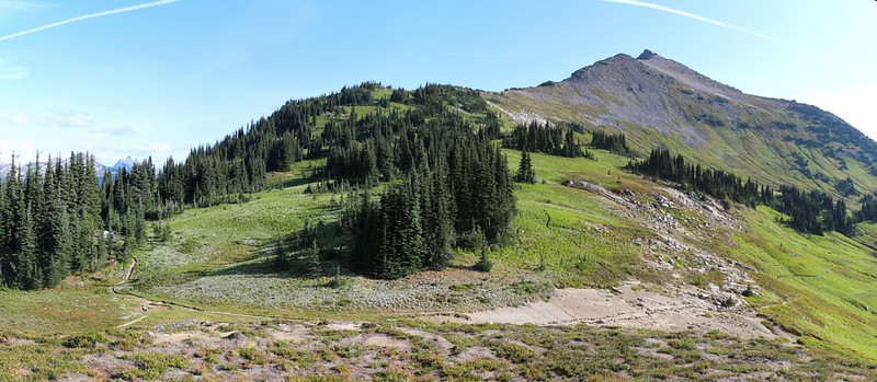 Panorama shot of Cloudy Pass and Cloudy Peak, with our tent on the far left, from the spot we moved it to