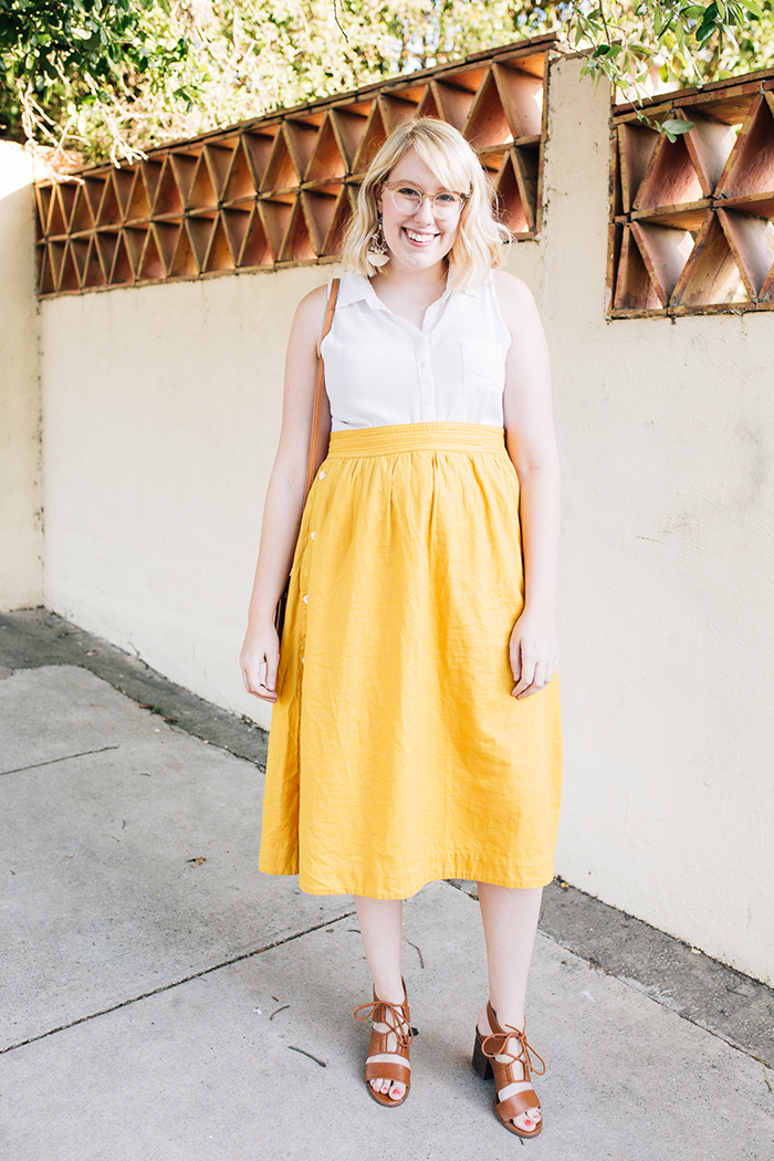 austin fashion blogger writes like a girl madewell yellow midi skirt7