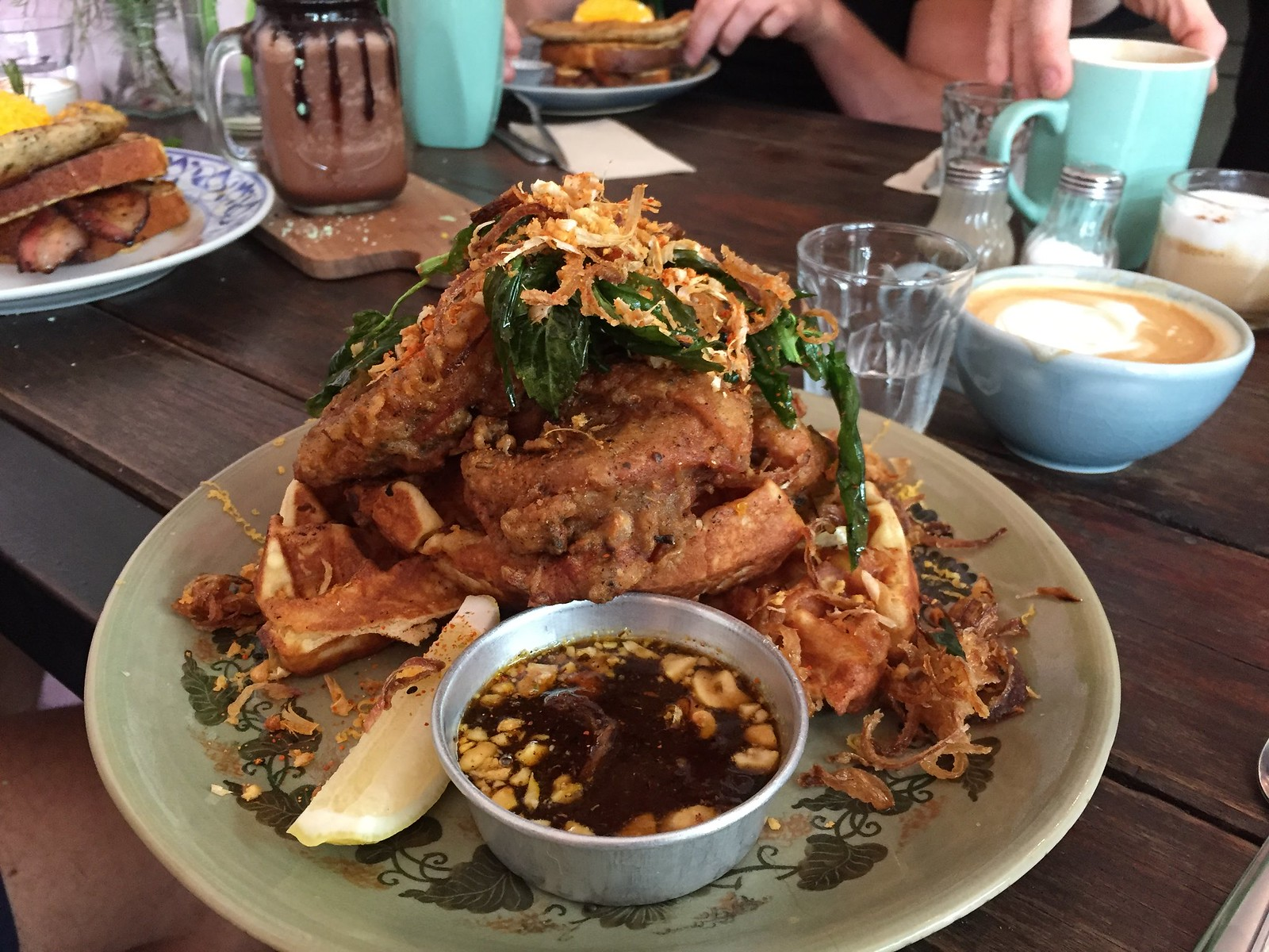 Waffles with Fried chicken at Rustic & Blue