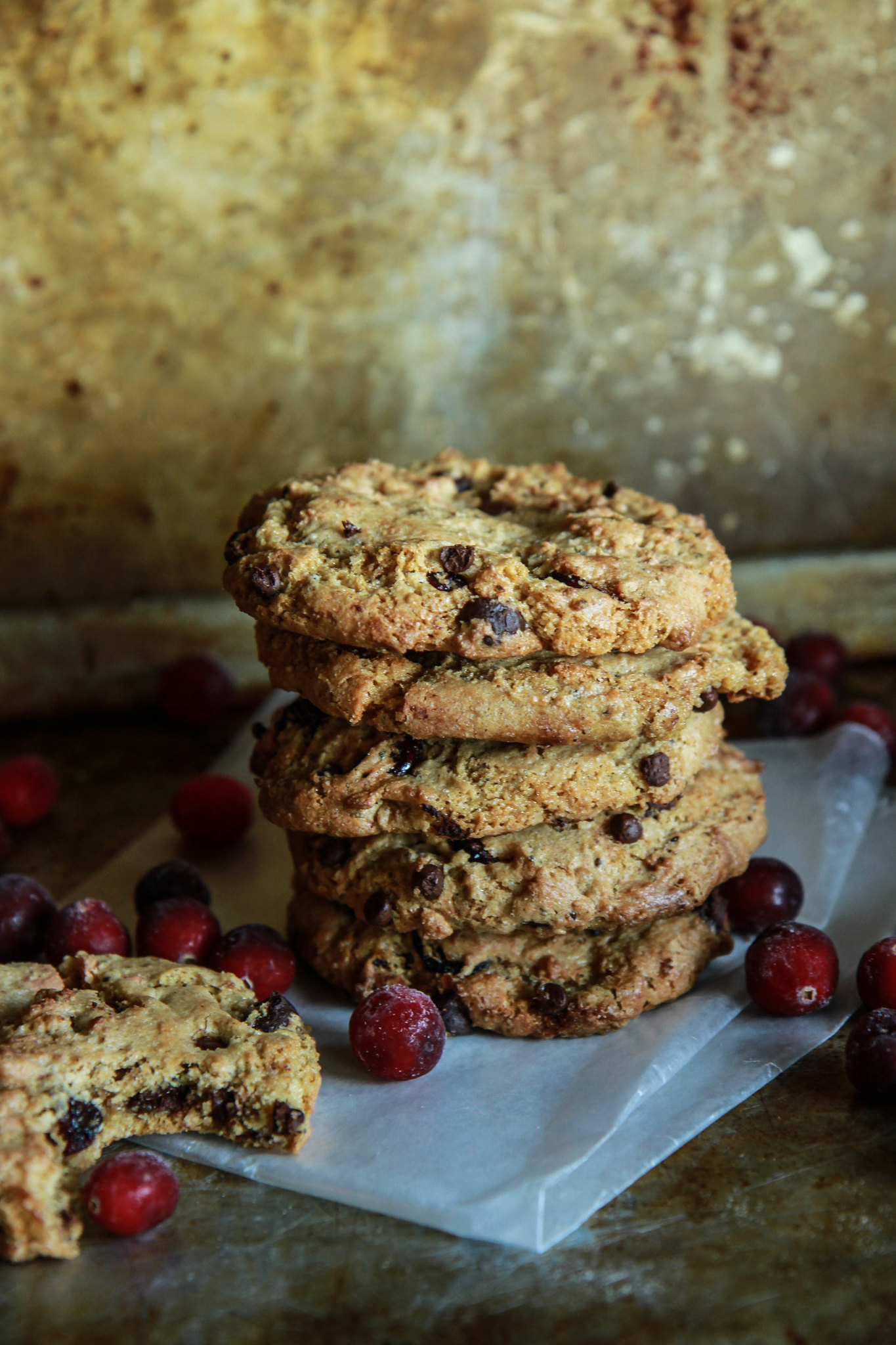 Chewy Chocolate Caramel Cranberry Cookies- Vegan and Gluten Free from HeatherChristo.com