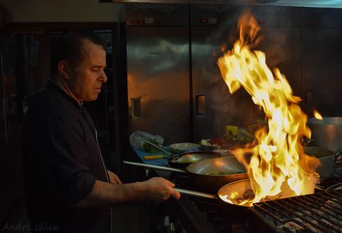 kitchen on fire!