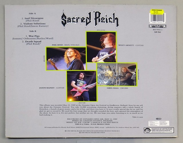 "SACRED REICH ALIVE AT THE DYNAMO OIS 12"" LP ALBUM VINYL"