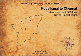 Map from Kodaikanal to Chennai