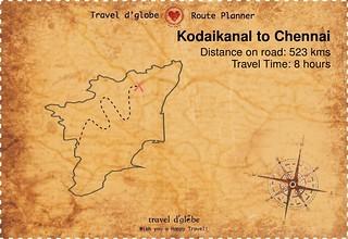 Map from Kodaikanal to Chennai
