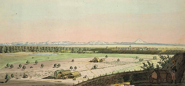 15. Крепость Георгиевск на фоне сверкающего снегом Эльбруса.