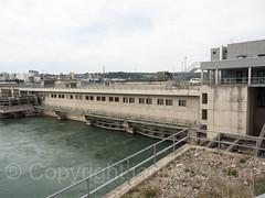 RHE333 Power Plant Rheinfelden Weir and Bridge over the Hochrhein River, Rheinfelden AG Switzerland - Rheinfelden (Baden) Germany