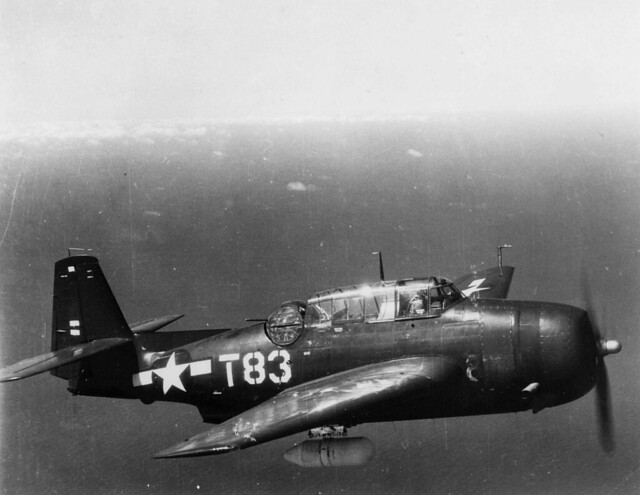 TBM-3E Avenger of VMTB-234 in flight, 1945