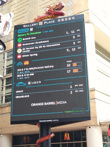 Real time transit information via TransitScreen and the Orange Barrel Media digital billboard outside Capital One Arena
