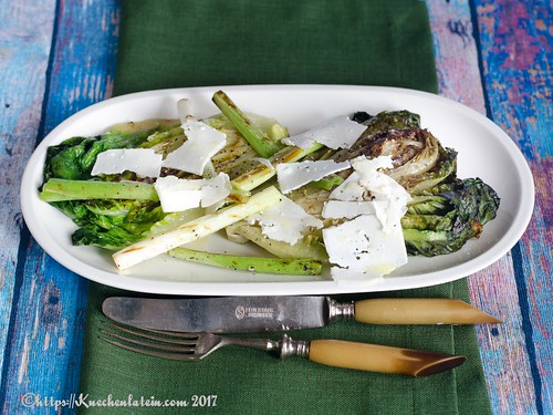 Barbecued Little Gems and spring onions with goat's cheese-1