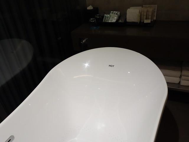 浴缸寫著 HOT 的這端有背部加熱效果@高雄喜達絲飯店