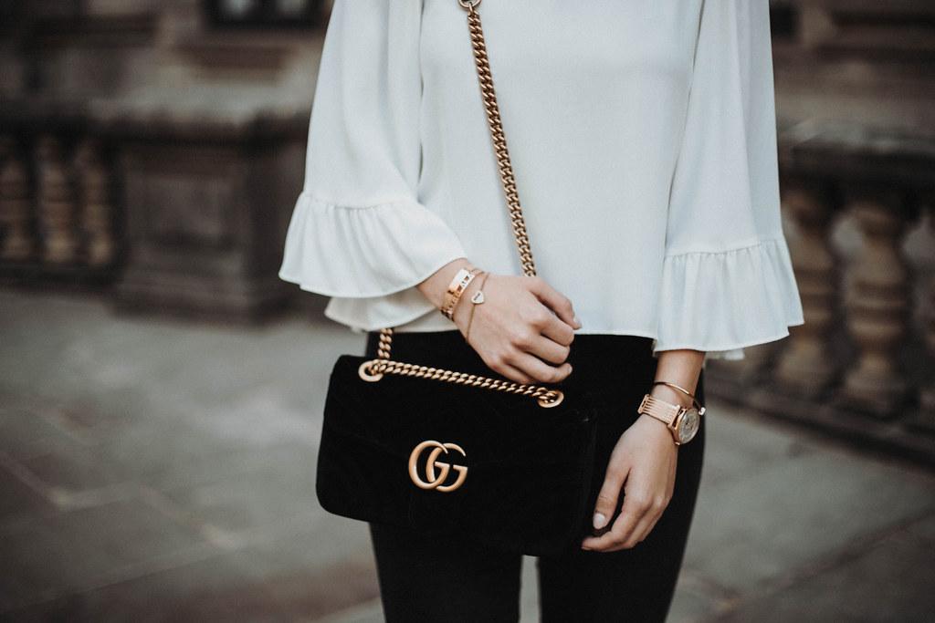 Gucci Marmont Samt Schwarz Tasche
