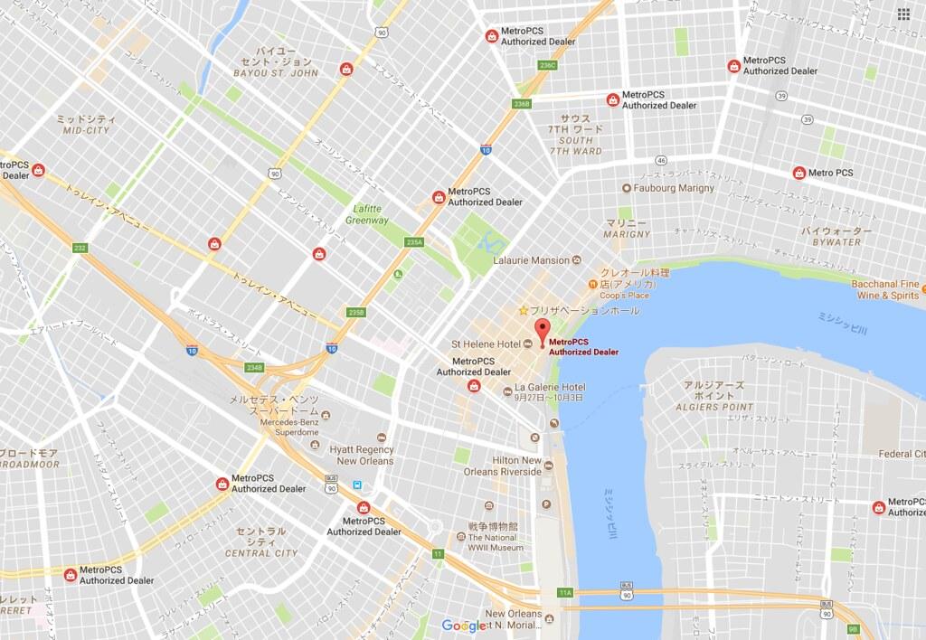 MetroPCSのニューオーリンズの店舗マップ