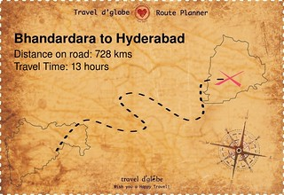 Map from Bhandardara to Hyderabad